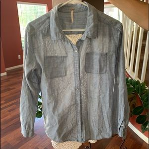 Free people button down denim top